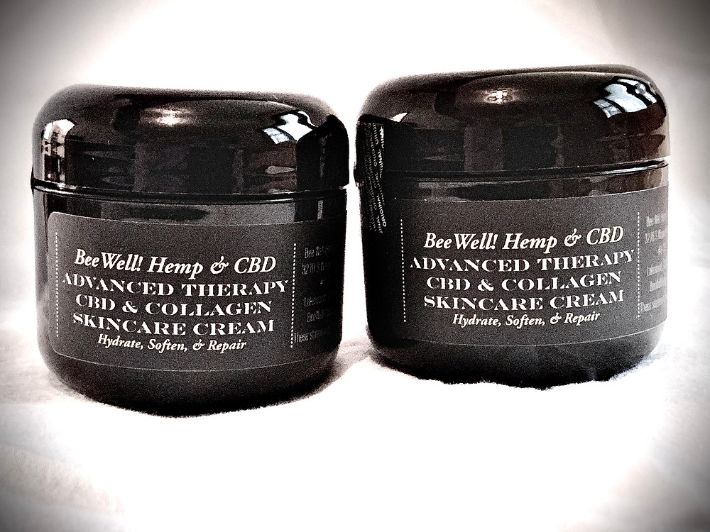 CBD plus Collagen Skin Care Cream made by Bee Well Hemp and CBD allows you to Hydrate, Soften, & Repair your skin! https://www.HicoHemp.com