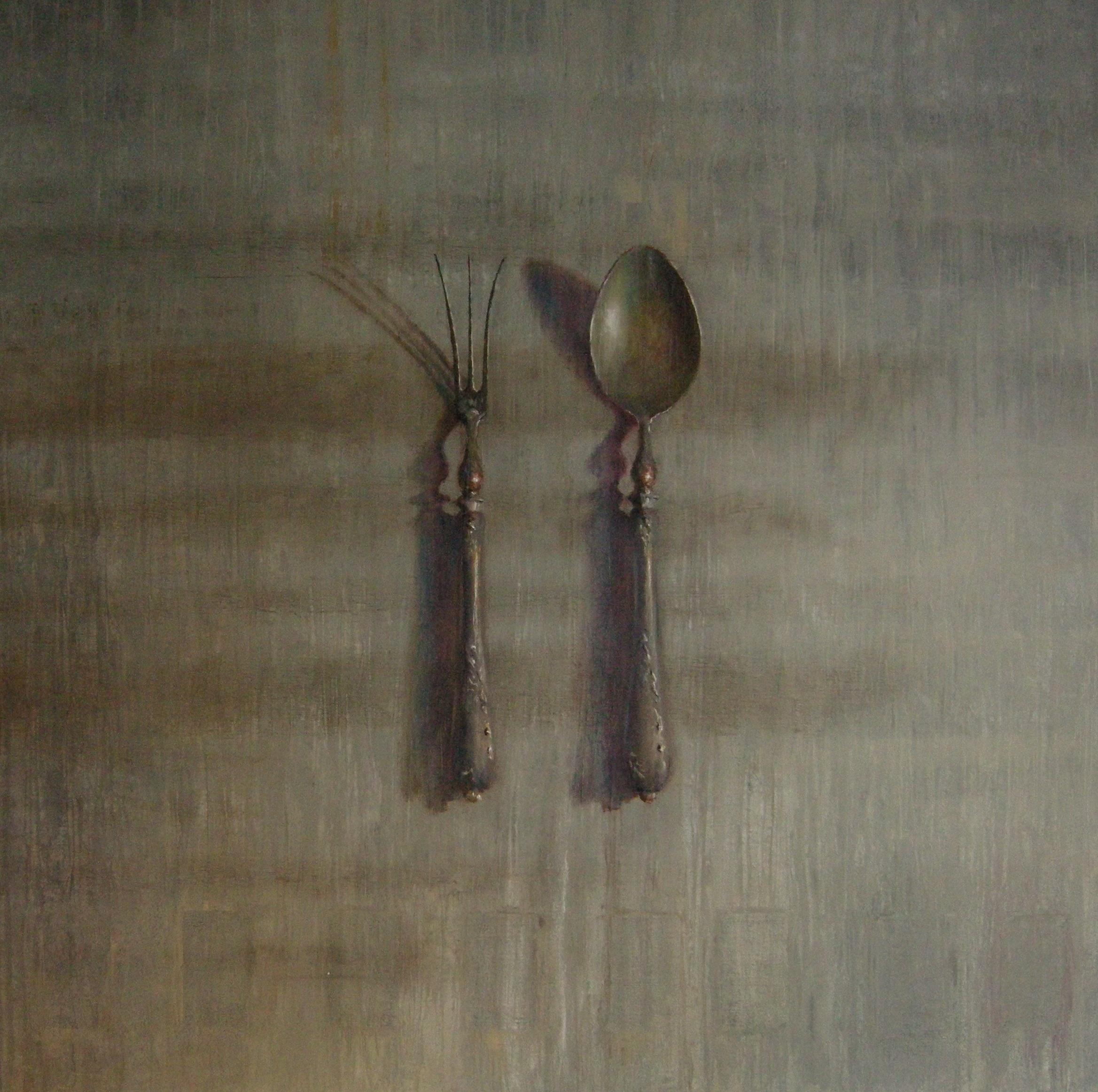 Zilveren vork en lepel 110 x 110 (verkocht)