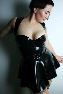Latex Circle Skirt, Latex Belt, Custom Made Top
