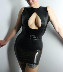 Teardrop Latex Top, Latex Belt, Latex Mini Skirt over the Low Cut Latex Knickers