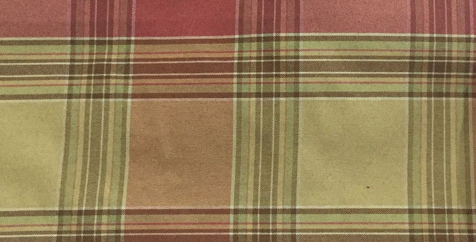 Coral, Green, and Brown Plaid