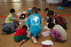 Caroline & children coloring