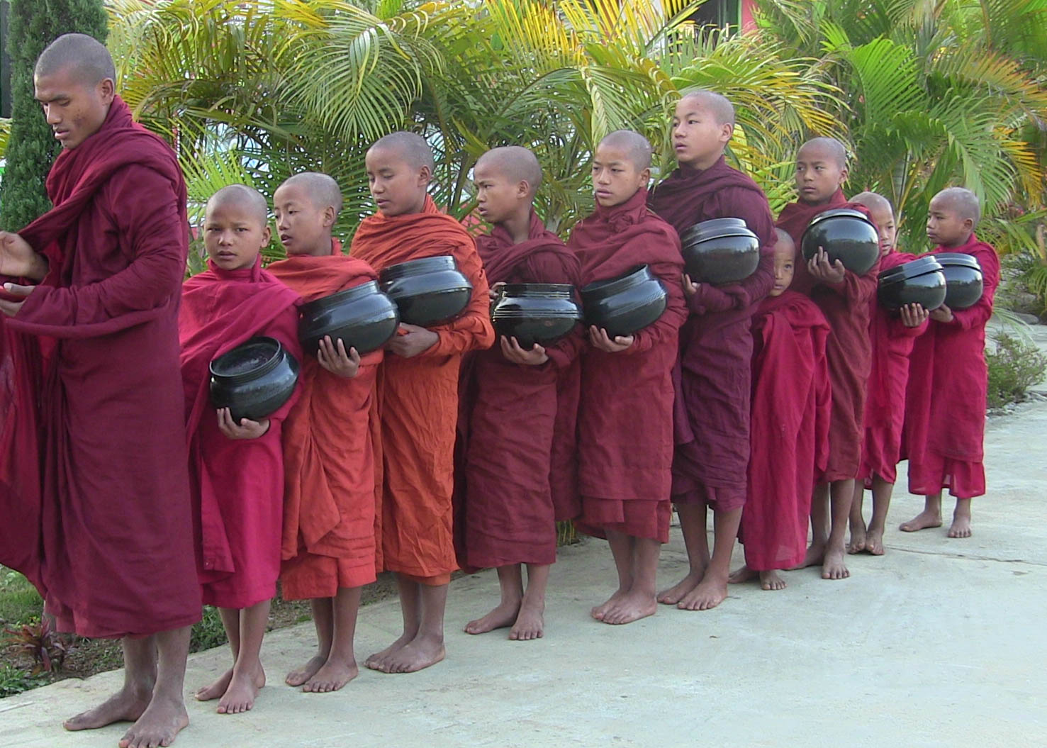 Monks practice of daily alms