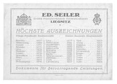 Höchste Auszeichnungen für Seiler in den Jahren 1857-1924