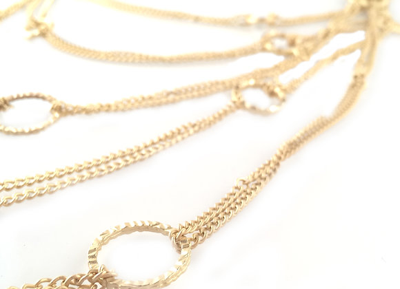 Gold Link Tiered Necklace
