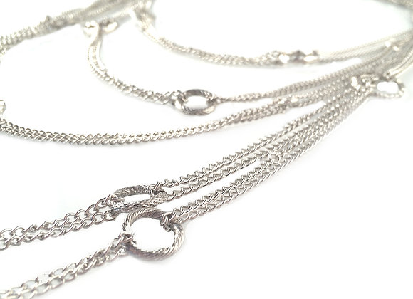 Silver Link Tiered Necklace