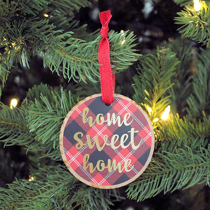 Home Sweet Home Plaid Ornament