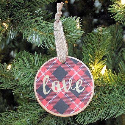 Love Plaid Ornament