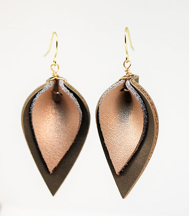 Rose Gold and Grey Leaf Earrings