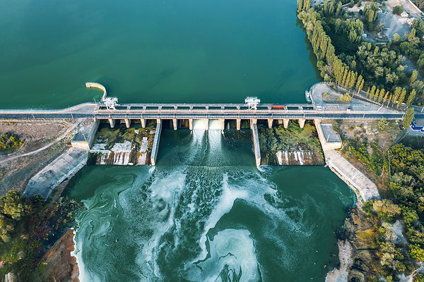 Aerial panoramic view of concrete Dam at
