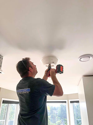 Victoria BC Electrician Gorge Electrical installing ceiling lights