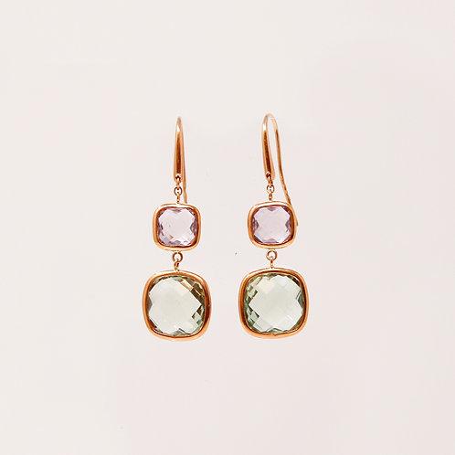 Amethyst & Green Amethyst Earrings