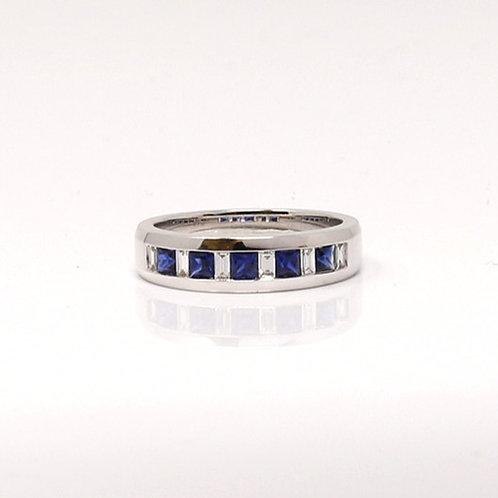Lady's Blue Sapphire and Diamond Dress Ring