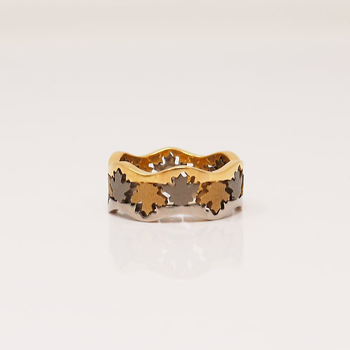 Lady's Titanium & 18kt Yellow Gold Band