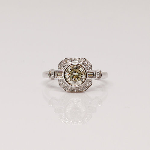 Beverley K Collection Art Deco Style Ladies Engagement Ring