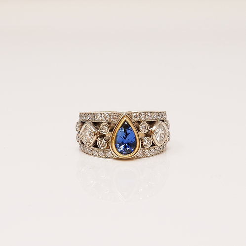Wong Ken's Diamond and Sapphire Lady's Dress Ring