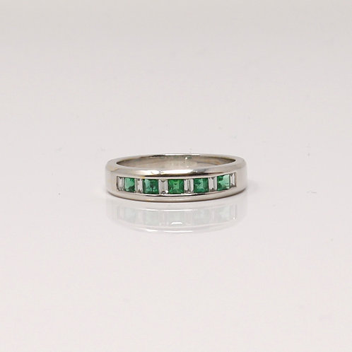 Ladies Emerald and Diamond Dress Ring