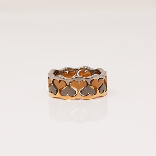 Lady's Titanium & 18kt Pink & Yellow Gold Band