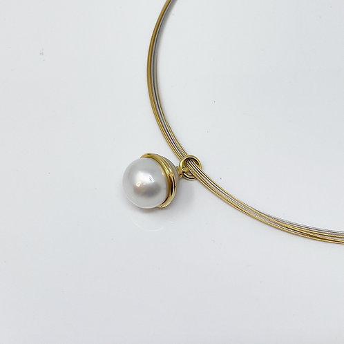 South Sea Pearl Pendant and Multi-Strand Neck Wire