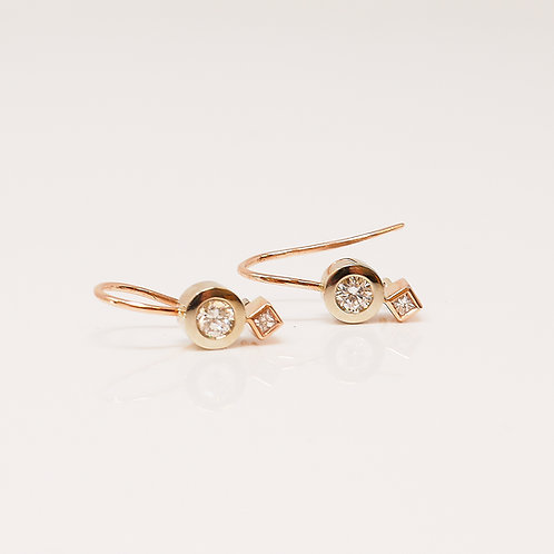 Wong Ken's White and Rose Gold Earrings