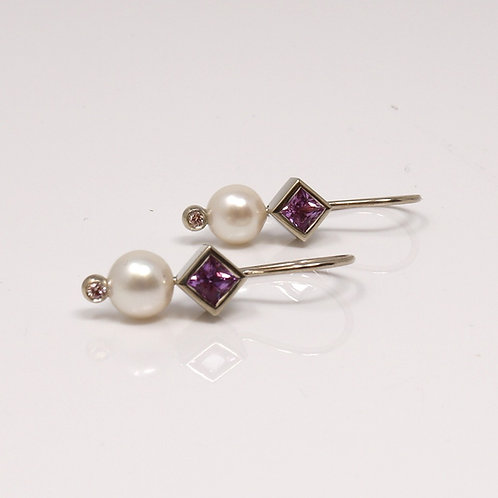 Wong Ken's Pearl and Pink Sapphire Earrings