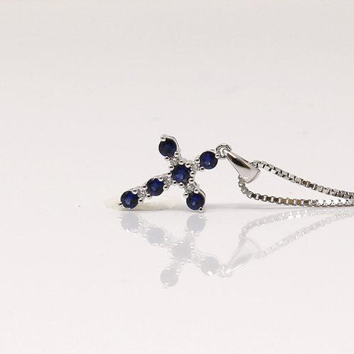 Blue Sapphire & Diamond Cross - Model PQP035/57