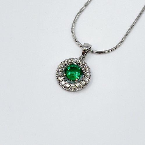 Lady's Diamond and Emerald Pendant