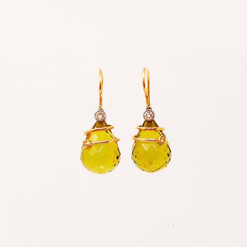 Green Amber Briolette Earrings