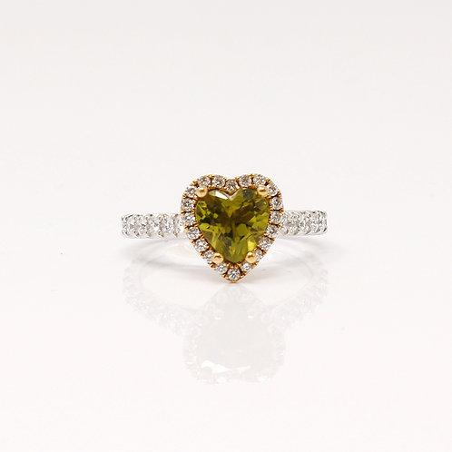 Heart Shaped Peridot and Diamond Engagement Ring