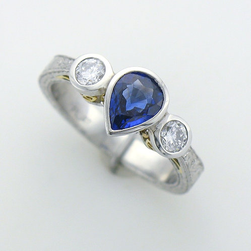 Lady's 3 - Across Platinum and Sapphire Ring