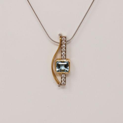 Aquamarine Pendant and Snake Chain