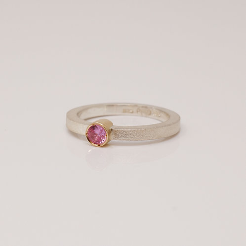 Wong Ken's Sterling Silver and Pink Sapphire Ring