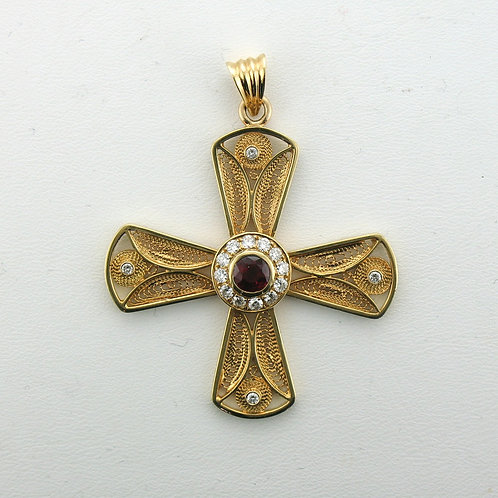 Diamond and Ruby Aegean Cross