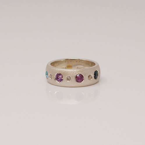 Wong Ken's Sterling Silver and Coloured Stone Ring