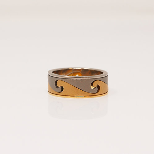 Gents Titanium & 18kt Yellow Gold Band