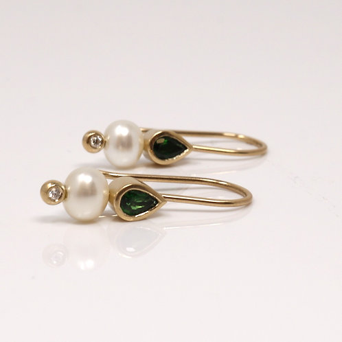 Wong Ken's Freshwater Pearl Chrome Tourmaline Earrings