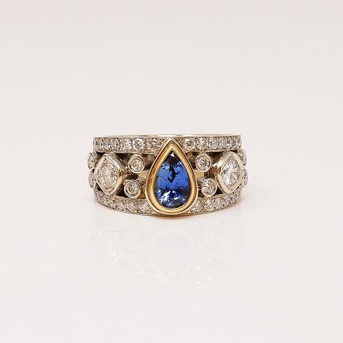 Wong Ken's Diamond and Sapphire Lady's Dress Ring