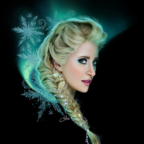 DIGITAL ILLUSTRATION OF CAISSIE LEVY AS ELSA