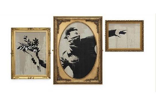 バンクシー「Flower Thrower Triptych GDP」