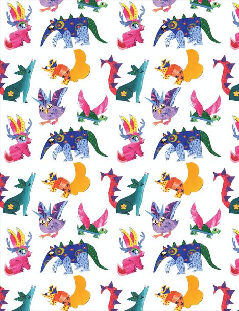 Alebrijes Collage Pattern