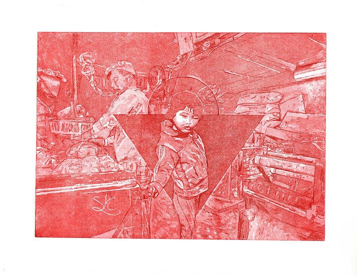 Kowloon Shop Aquatint Red