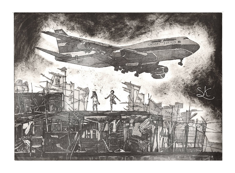 Kowloon Plane Aquatint Black