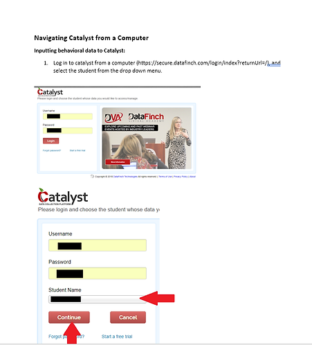 Navigating Catalyst from a Computer: Inputting Data