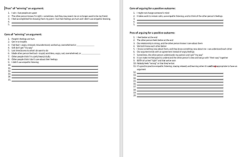 Pros and Cons of making Arguments Worksheet