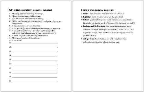 Empathic Listening worksheet