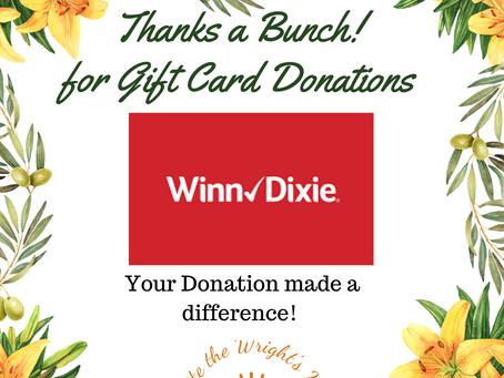 A huge thanks to Winn Dixie!!!
