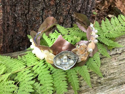 Golden Shell & Leaves Goddess Crown