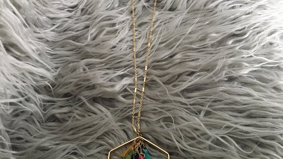 Multi tassel golden necklace