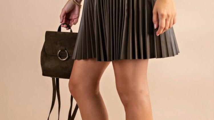 Accordion leather skirt-light brown