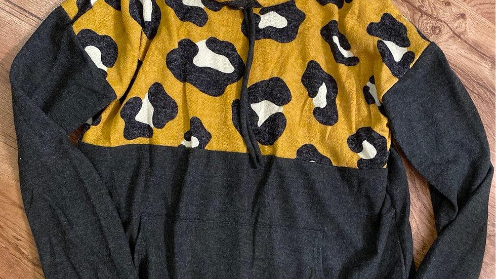 Mustard leopard wide neck sweatshirt